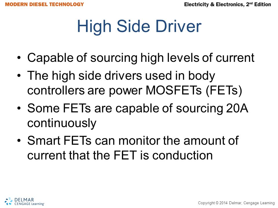 Copyright © 2014 Delmar, Cengage Learning High Side Driver Capable of sourcing high levels of current The high side drivers used in body controllers a