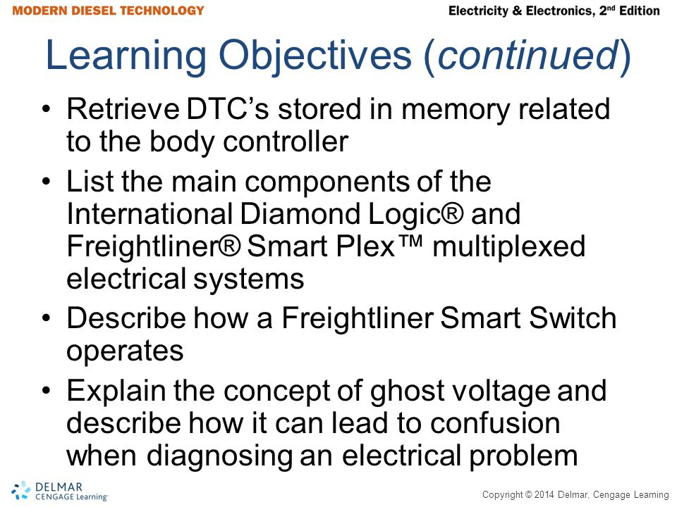 Copyright © 2014 Delmar, Cengage Learning Learning Objectives (continued) Retrieve DTC's stored in memory related to the body controller List the main