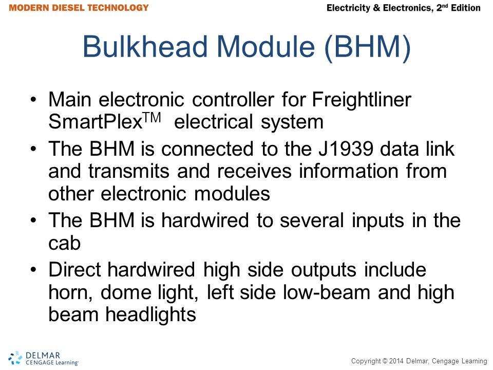 Copyright © 2014 Delmar, Cengage Learning Bulkhead Module (BHM) Main electronic controller for Freightliner SmartPlex TM electrical system The BHM is