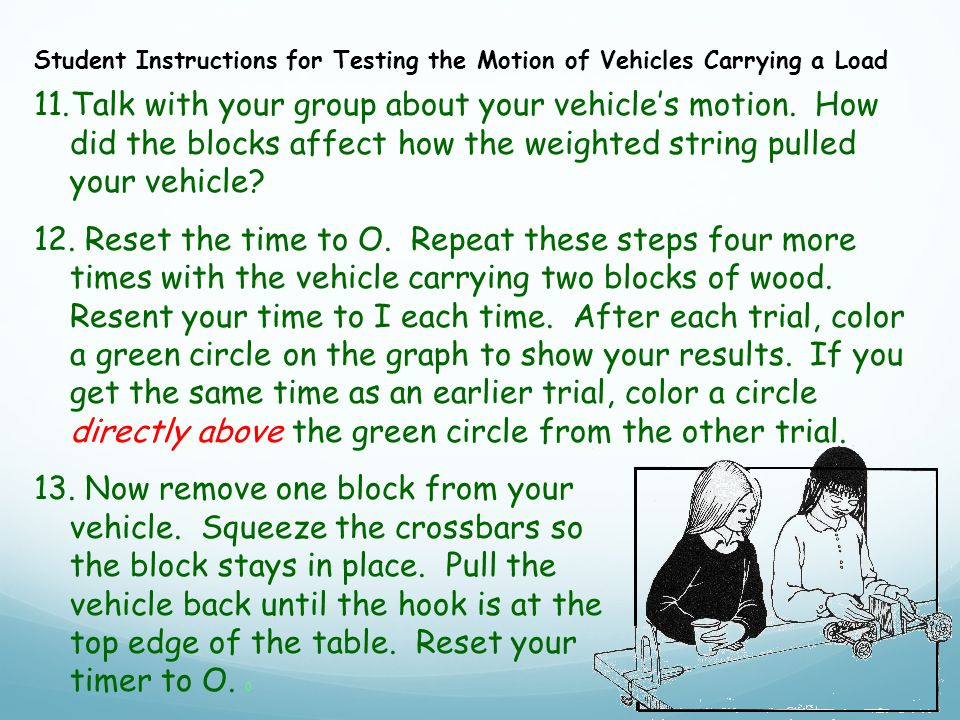 11.Talk with your group about your vehicle's motion.
