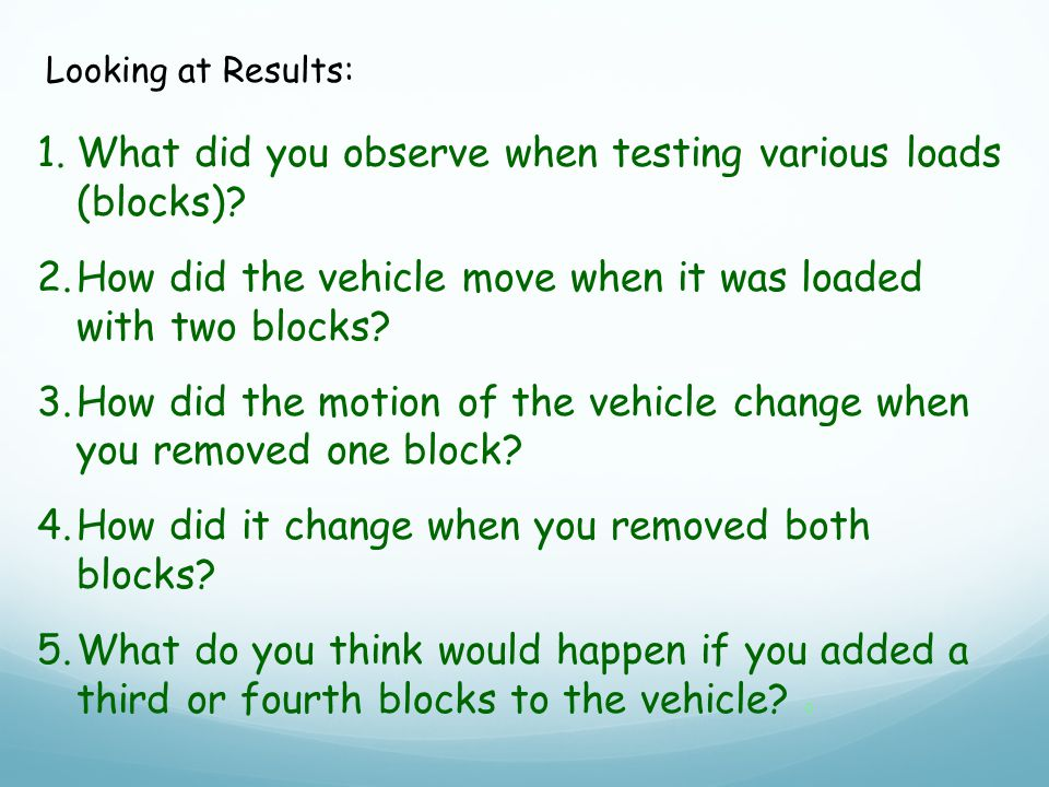 1.What did you observe when testing various loads (blocks).