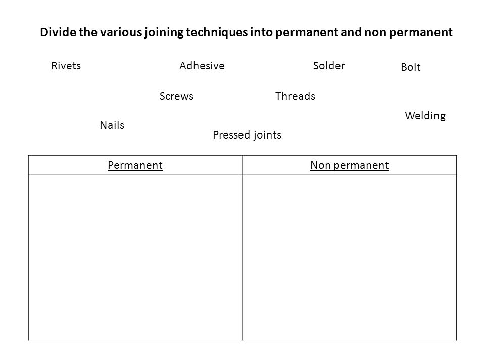 Divide the various joining techniques into permanent and non permanent PermanentNon permanent Rivets Welding Nails Threads Adhesive Bolt Pressed joint