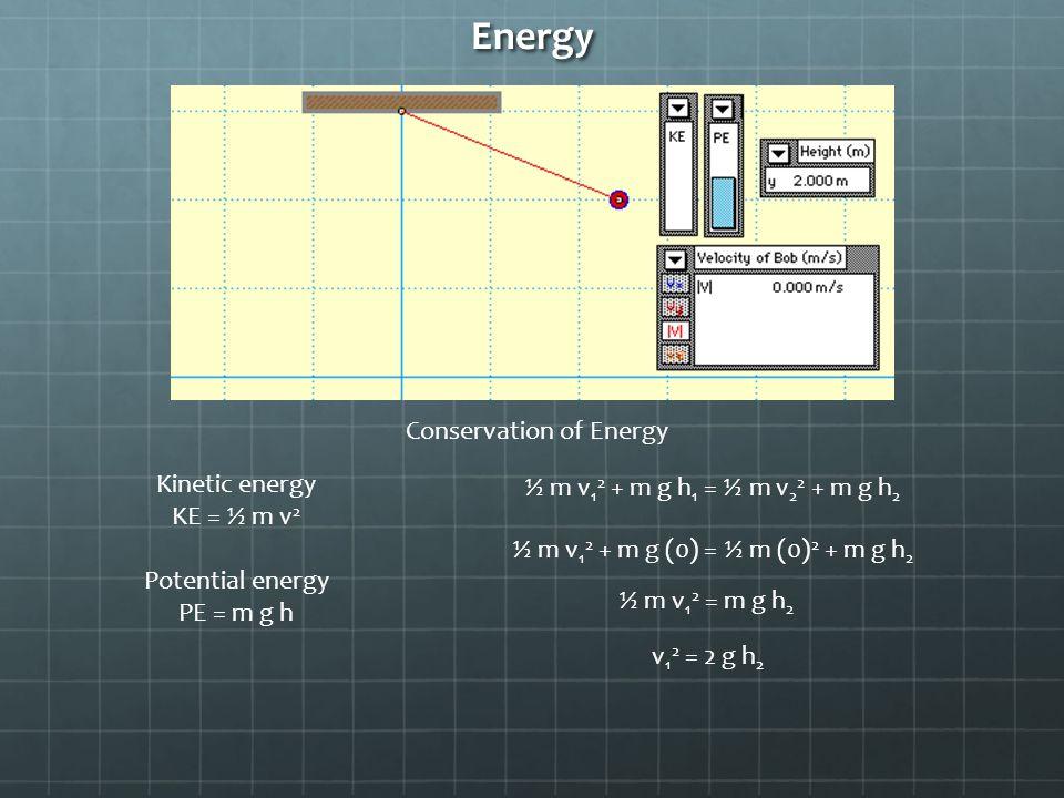 Energy Conservation of Energy Kinetic energy KE = ½ m v 2 Potential energy PE = m g h ½ m v 1 2 + m g h 1 = ½ m v 2 2 + m g h 2 ½ m v 1 2 + m g (0) = ½ m (0) 2 + m g h 2 ½ m v 1 2 = m g h 2 v 1 2 = 2 g h 2