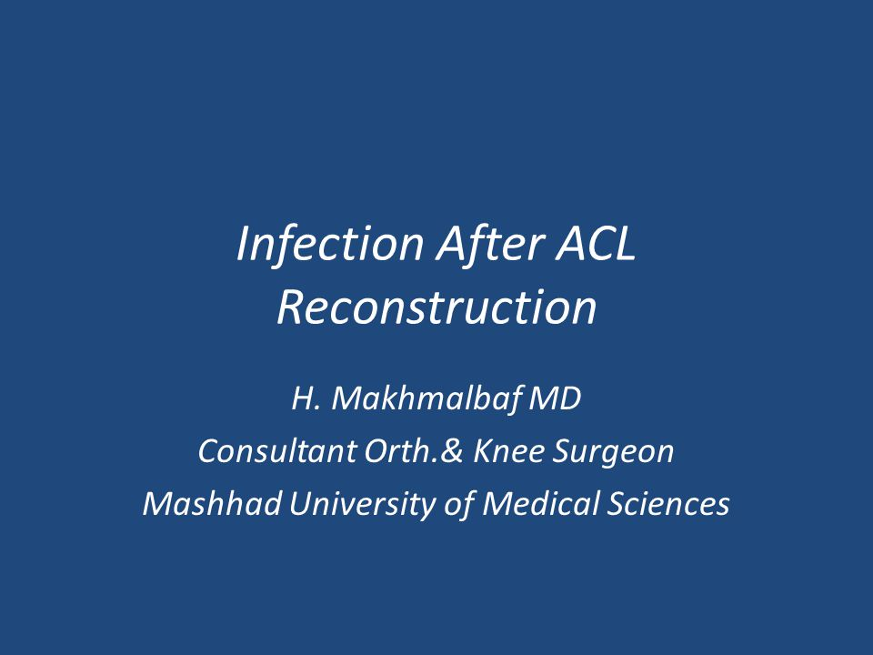 Infection After ACL Reconstruction H.