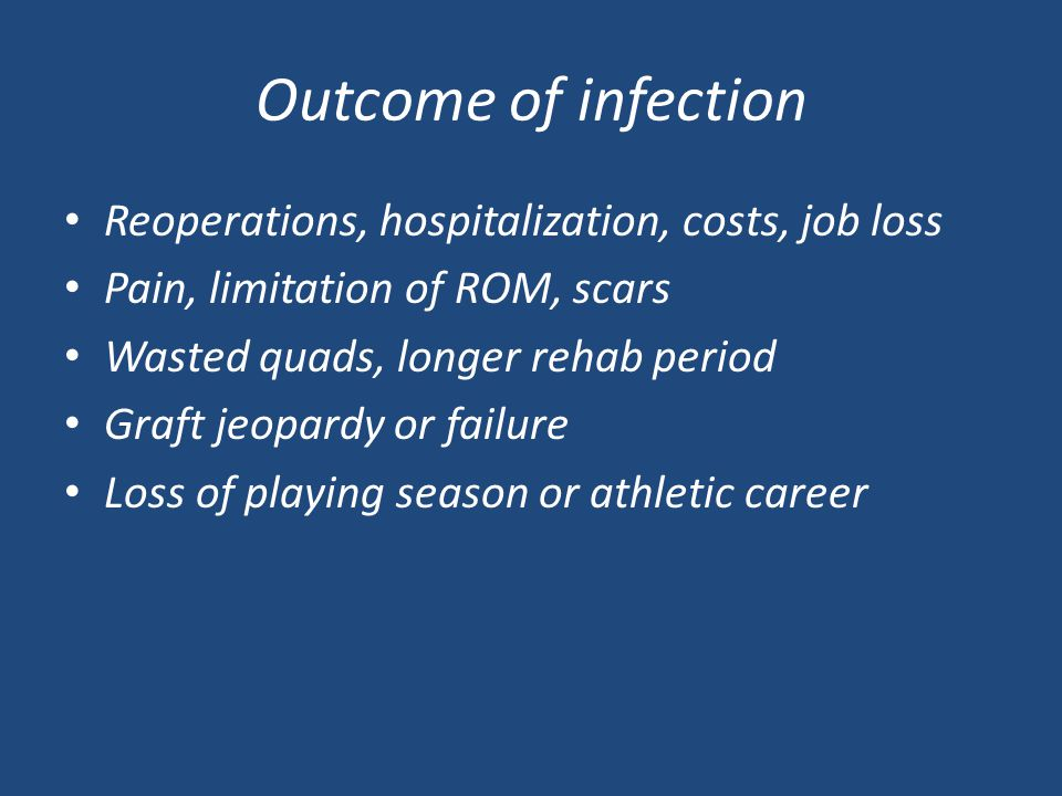 Outcome of infection Reoperations, hospitalization, costs, job loss Pain, limitation of ROM, scars Wasted quads, longer rehab period Graft jeopardy or failure Loss of playing season or athletic career