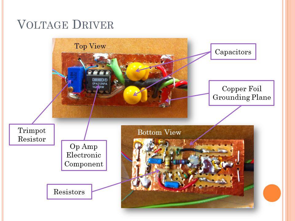 V OLTAGE D RIVER Op Amp Electronic Component Trimpot Resistor Capacitors Copper Foil Grounding Plane Resistors Top View Bottom View