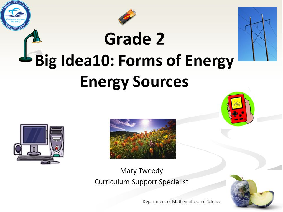 Department of Mathematics and Science Grade 2 Big Idea10: Forms of Energy Energy Sources Mary Tweedy Curriculum Support Specialist