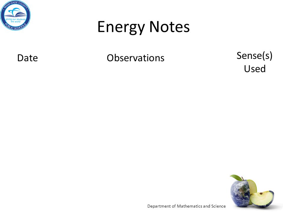 Department of Mathematics and Science Energy Notes DateObservations Sense(s) Used