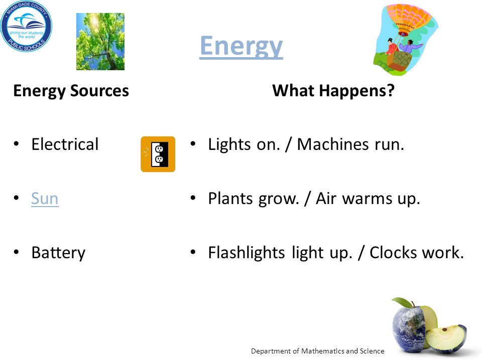 Department of Mathematics and Science Energy Energy Sources Electrical Sun Battery What Happens.