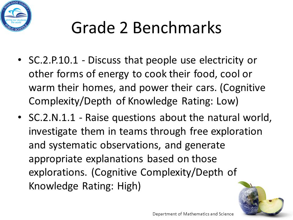 Department of Mathematics and Science Energy Sources Objectives: The student will be able to demonstrate understanding of: Explaining that energy is needed to make objects work.