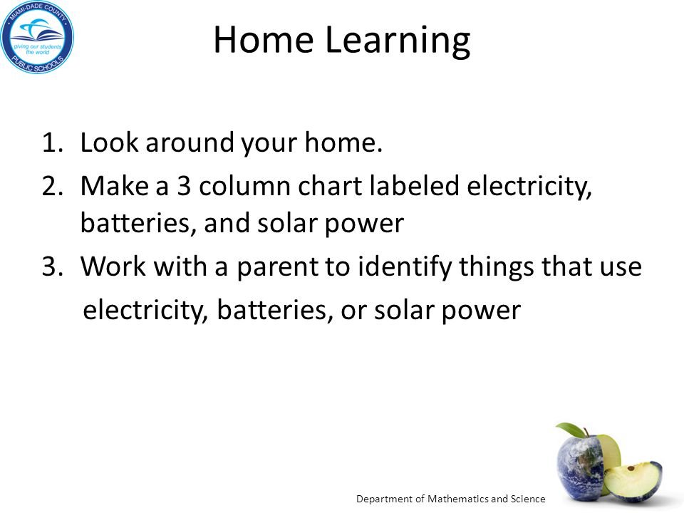 Department of Mathematics and Science Home Learning 1.Look around your home.