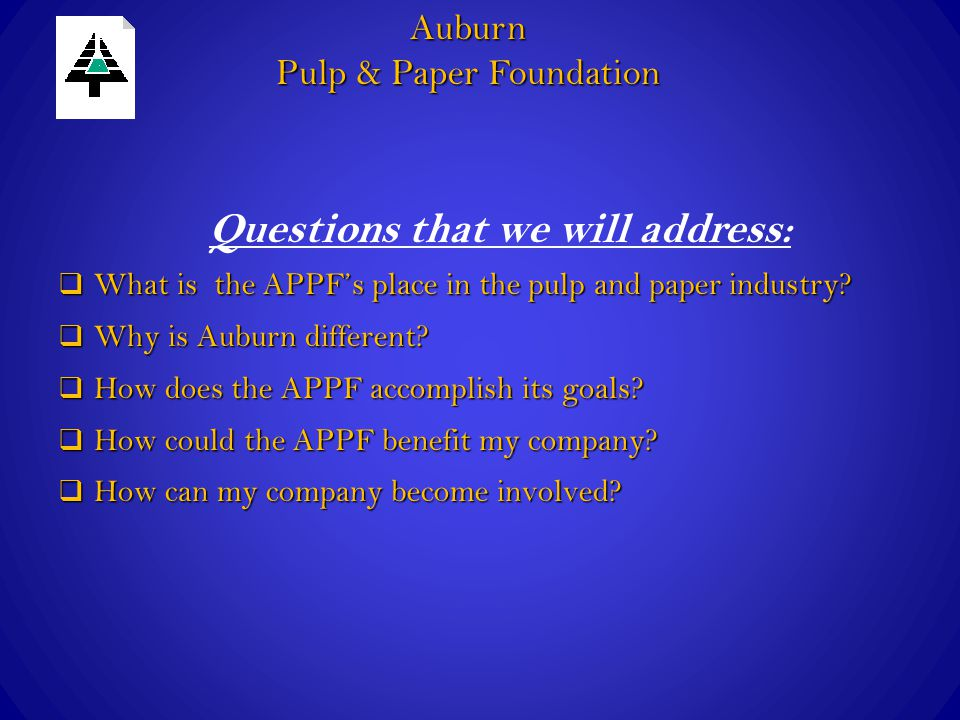  What is the APPF's place in the pulp and paper industry.