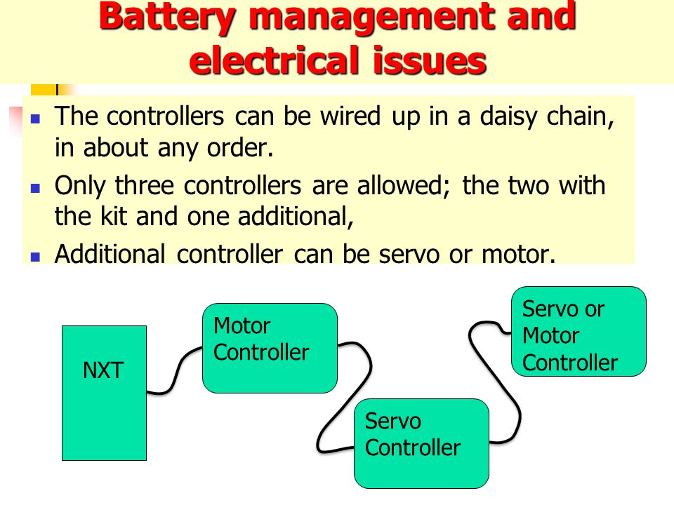 Battery management and electrical issues The controllers can be wired up in a daisy chain, in about any order.