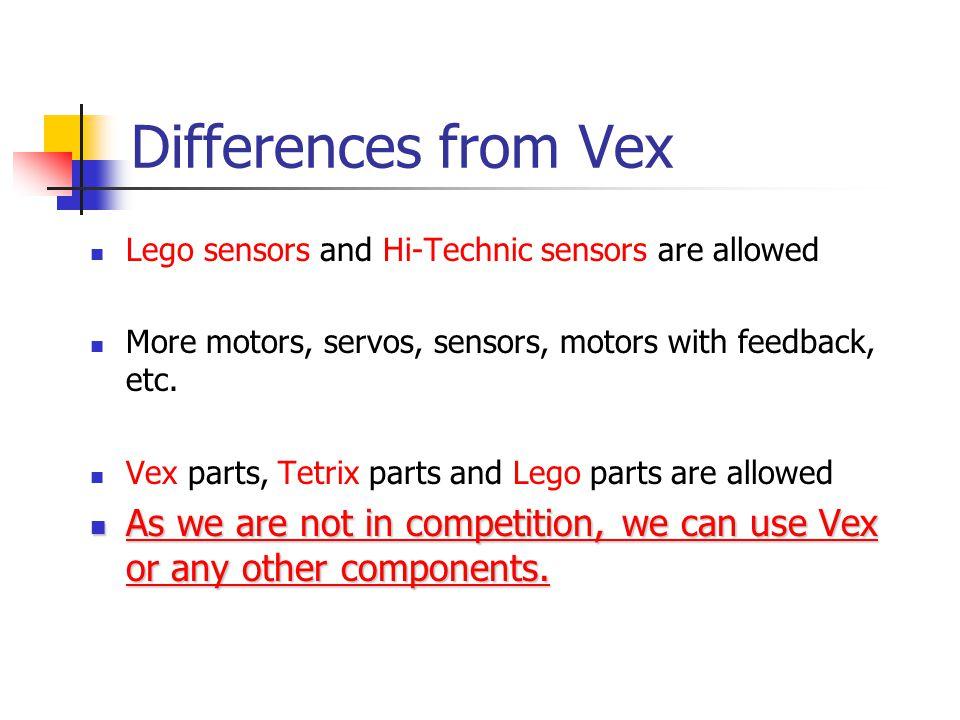 Differences from Vex Lego sensors and Hi-Technic sensors are allowed More motors, servos, sensors, motors with feedback, etc.