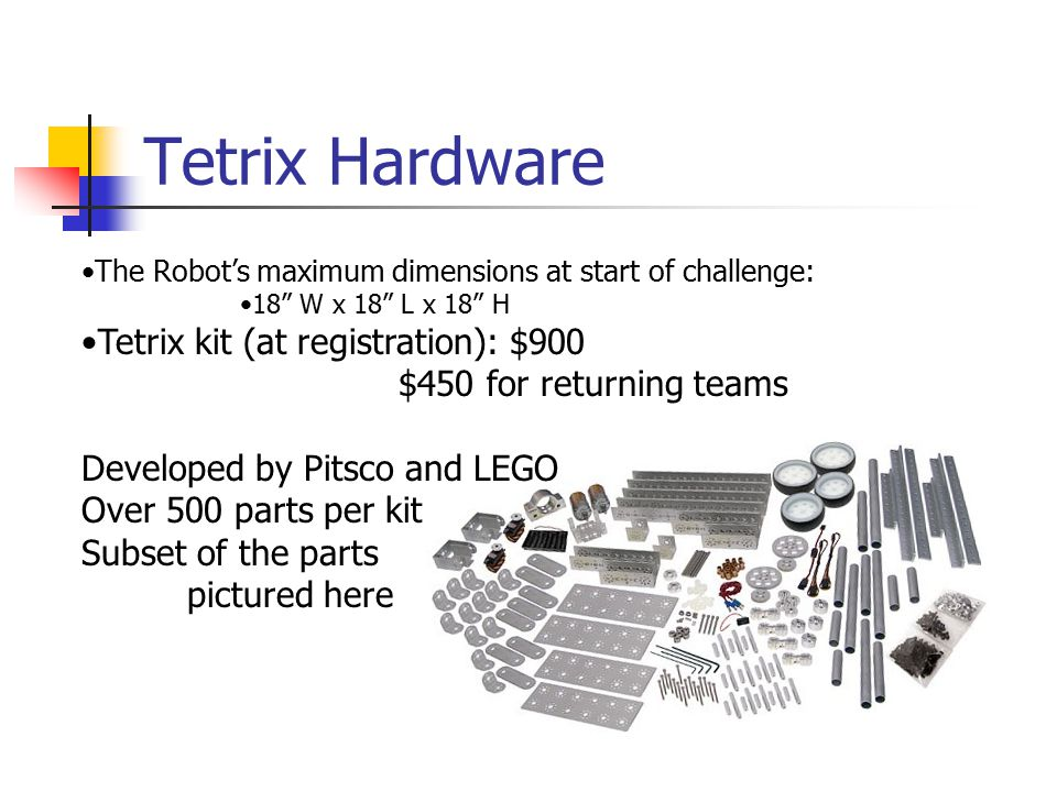 Tetrix Hardware The Robot's maximum dimensions at start of challenge: 18 W x 18 L x 18 H Tetrix kit (at registration): $900 $450 for returning teams Developed by Pitsco and LEGO Over 500 parts per kit Subset of the parts pictured here