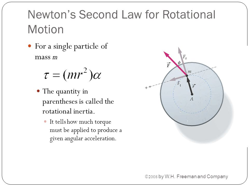 Newton's Second Law for Rotational Motion For a single particle of mass m The quantity in parentheses is called the rotational inertia. It tells how m