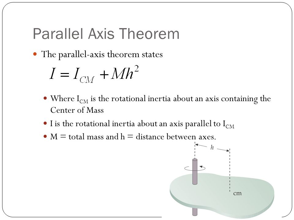 Parallel Axis Theorem The parallel-axis theorem states Where I CM is the rotational inertia about an axis containing the Center of Mass I is the rotat