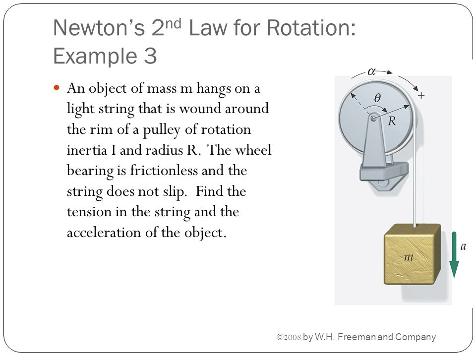 Newton's 2 nd Law for Rotation: Example 3 An object of mass m hangs on a light string that is wound around the rim of a pulley of rotation inertia I a