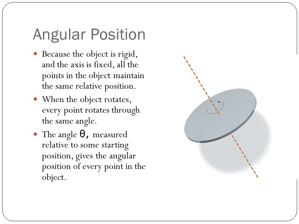 Angular Displacement When the object rotates on its axis, each point undergoes the same angular displacement Δ θ.