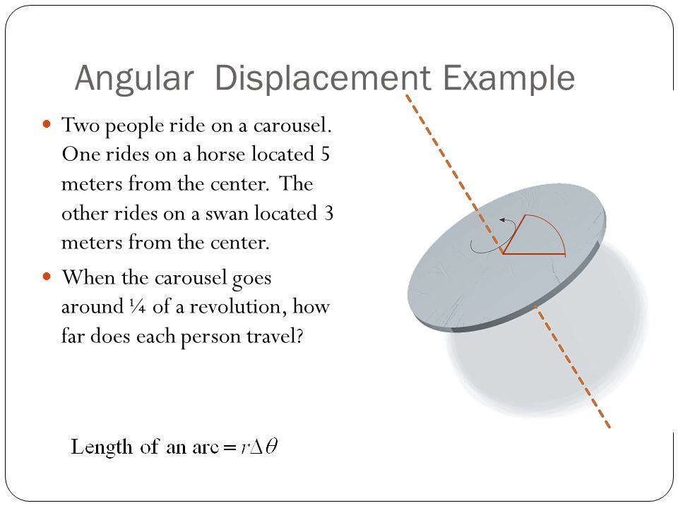 Angular Displacement Example Two people ride on a carousel. One rides on a horse located 5 meters from the center. The other rides on a swan located 3