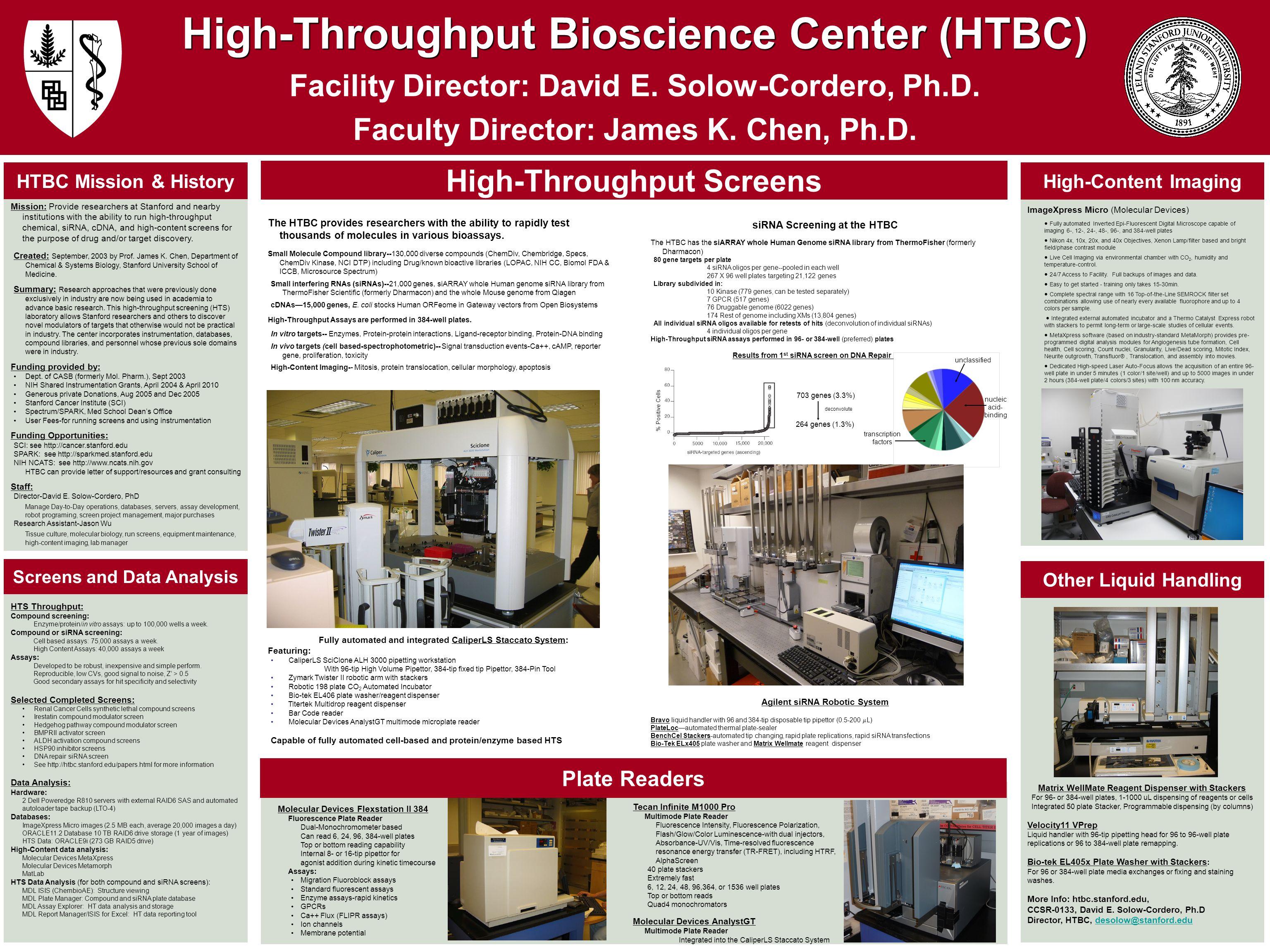 High-Throughput Bioscience Center (HTBC) Facility Director: David E.