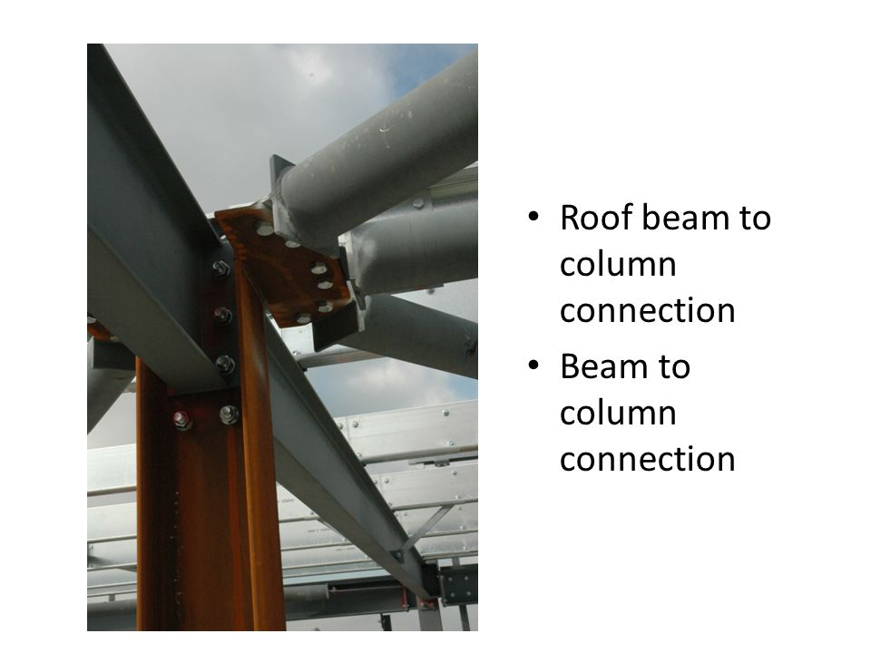 Roof beam to column connection Beam to column connection