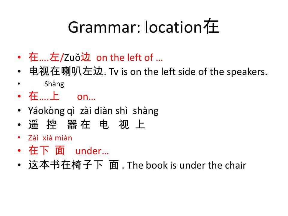 Grammar: location 在 在 …. 左 /Zuǒ 边 on the left of … 电视在喇叭左边.