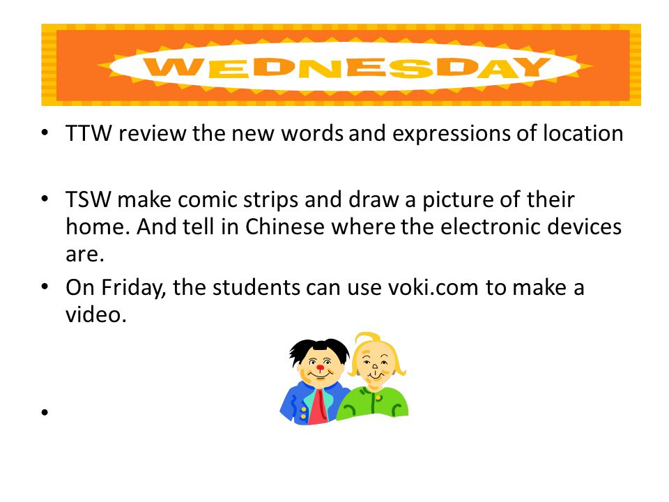 TTW review the new words and expressions of location TSW make comic strips and draw a picture of their home.