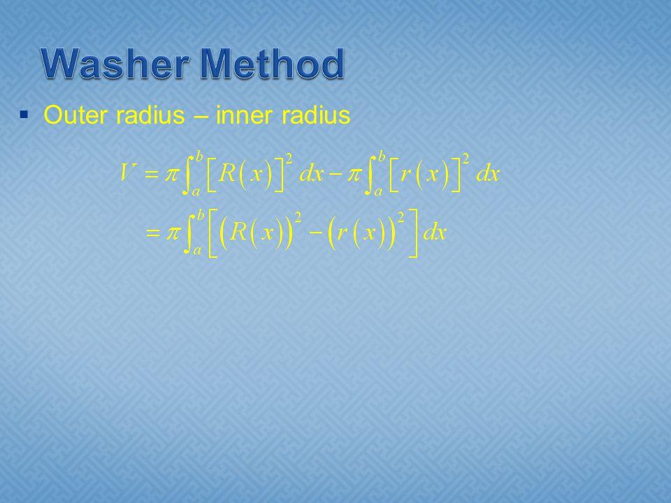  Outer radius – inner radius