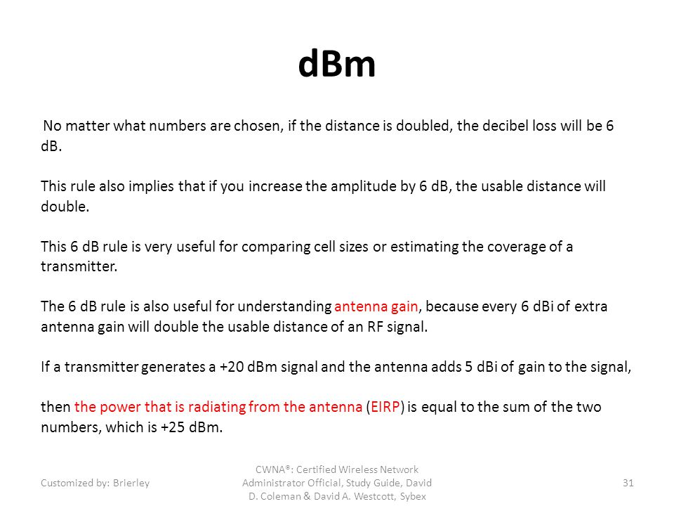 dBm No matter what numbers are chosen, if the distance is doubled, the decibel loss will be 6 dB. This rule also implies that if you increase the ampl