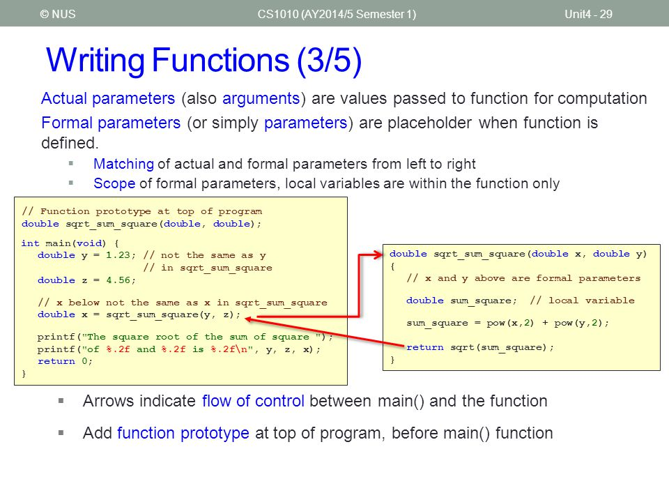 Writing Functions (3/5) CS1010 (AY2014/5 Semester 1)Unit4 - 29© NUS Actual parameters (also arguments) are values passed to function for computation F