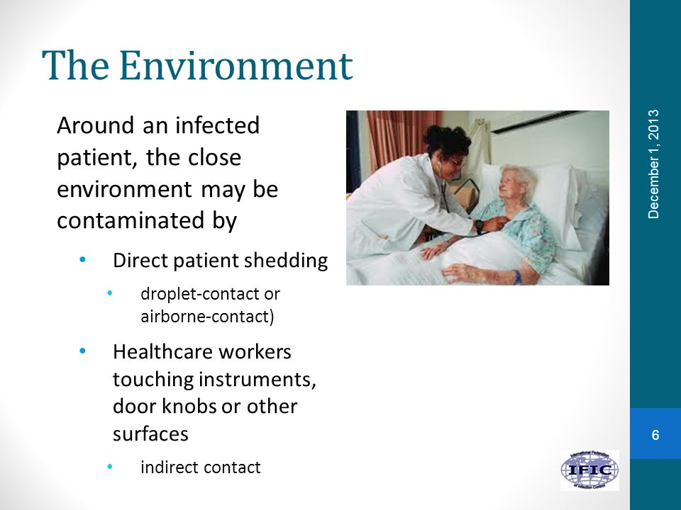 The Environment Around an infected patient, the close environment may be contaminated by Direct patient shedding droplet-contact or airborne-contact)