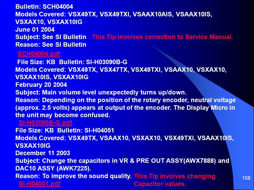 108 SCH04004.pdf File Size: KB Bulletin: SI-H03090B-G Models Covered: VSX49TX, VSX47TX, VSX49TXI, VSAAX10, VSXAX10, VSXAX10IS, VSXAX10IG February 20 2004 Subject: Main volume level unexpectedly turns up/down.