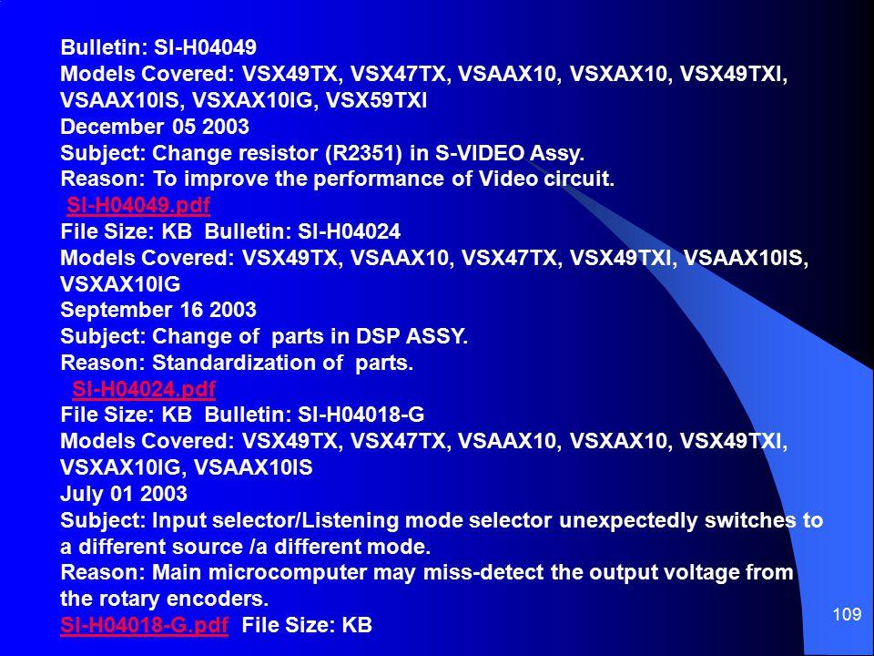 109 SI-H04049.pdf File Size: KB Bulletin: SI-H04024 Models Covered: VSX49TX, VSAAX10, VSX47TX, VSX49TXI, VSAAX10IS, VSXAX10IG September 16 2003 Subject: Change of parts in DSP ASSY.