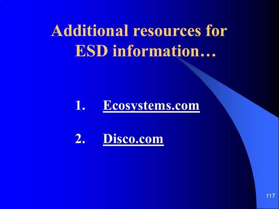 117 Additional resources for ESD information… 1.Ecosystems.com 2.Disco.com