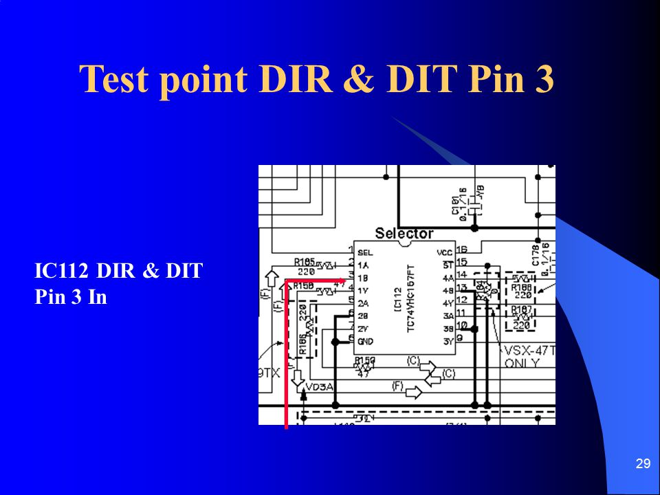 29 Test point DIR & DIT Pin 3 IC112 DIR & DIT Pin 3 In