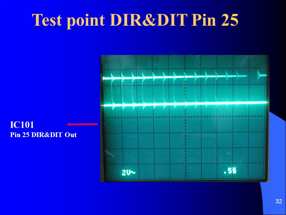 32 Test point DIR&DIT Pin 25 IC101 Pin 25 DIR&DIT Out