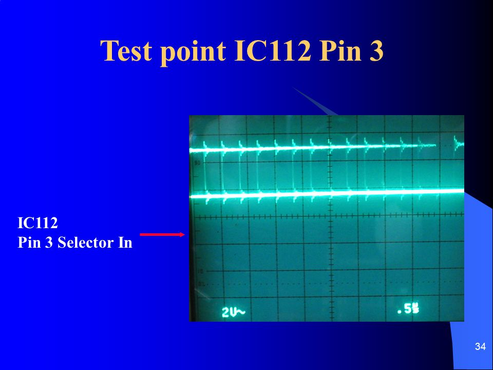 34 Test point IC112 Pin 3 IC112 Pin 3 Selector In