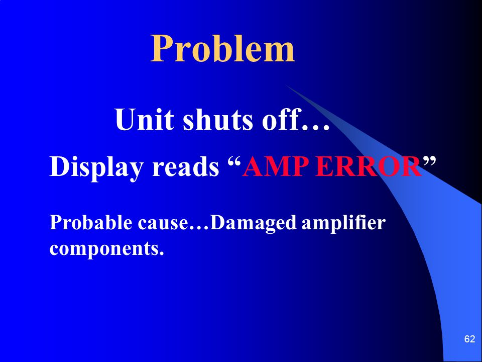 "62 Problem Unit shuts off… Display reads ""AMP ERROR"" Probable cause…Damaged amplifier components."