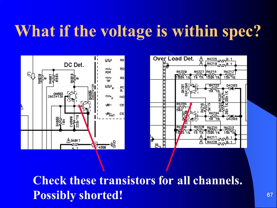 67 What if the voltage is within spec? Check these transistors for all channels. Possibly shorted!