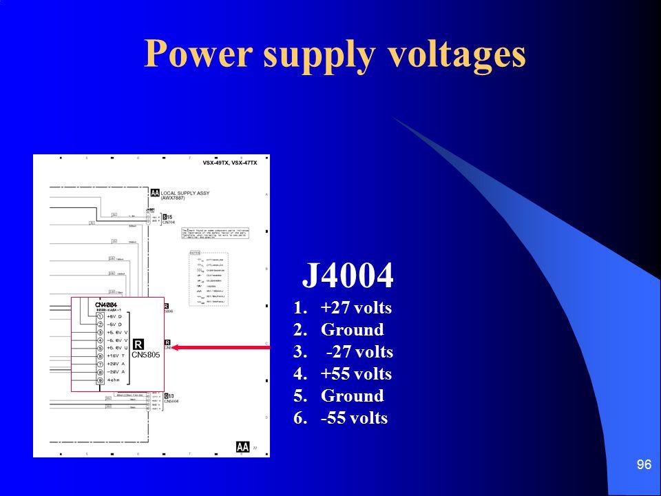 96 J4004 1.+27 volts 2. Ground 3.-27 volts 4. +55 volts 5.