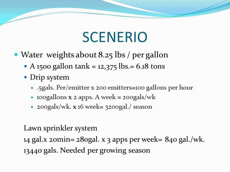 SCENERIO Water weights about 8.25 lbs / per gallon A 1500 gallon tank = 12,375 lbs.= 6.18 tons Drip system.5gals.