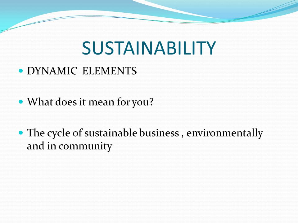 SUSTAINABILITY DYNAMIC ELEMENTS What does it mean for you.