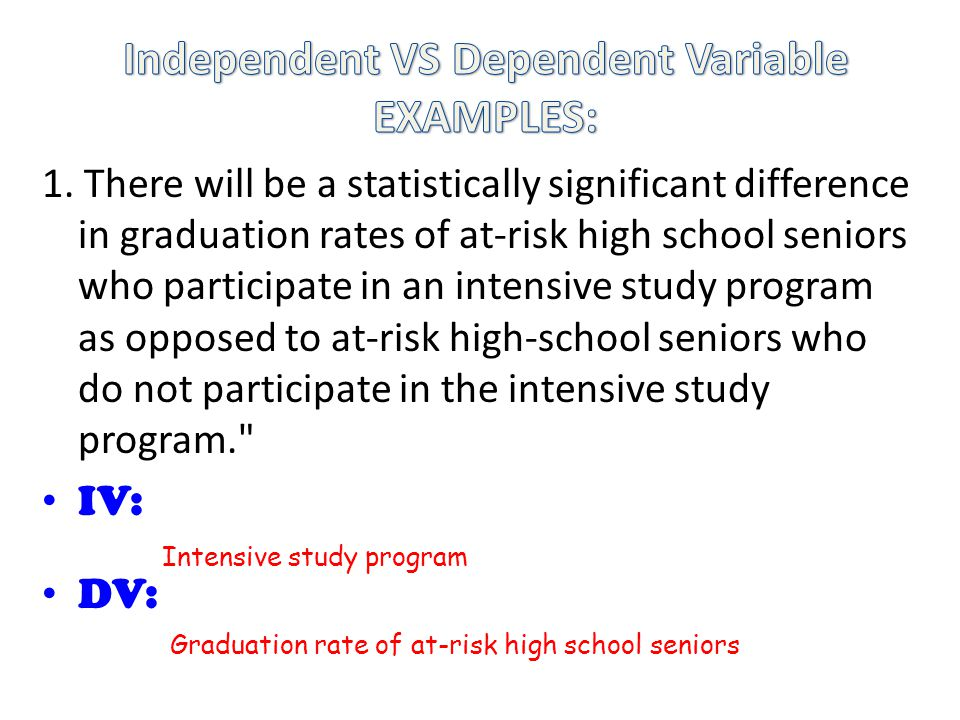 1. There will be a statistically significant difference in graduation rates of at-risk high school seniors who participate in an intensive study progr