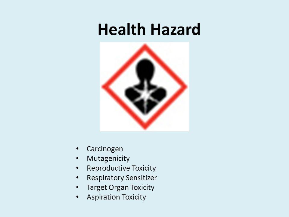 Health Hazard Carcinogen Mutagenicity Reproductive Toxicity Respiratory Sensitizer Target Organ Toxicity Aspiration Toxicity