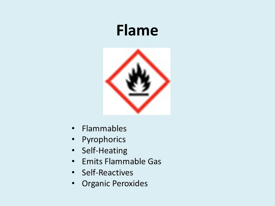 Flame Flammables Pyrophorics Self-Heating Emits Flammable Gas Self-Reactives Organic Peroxides