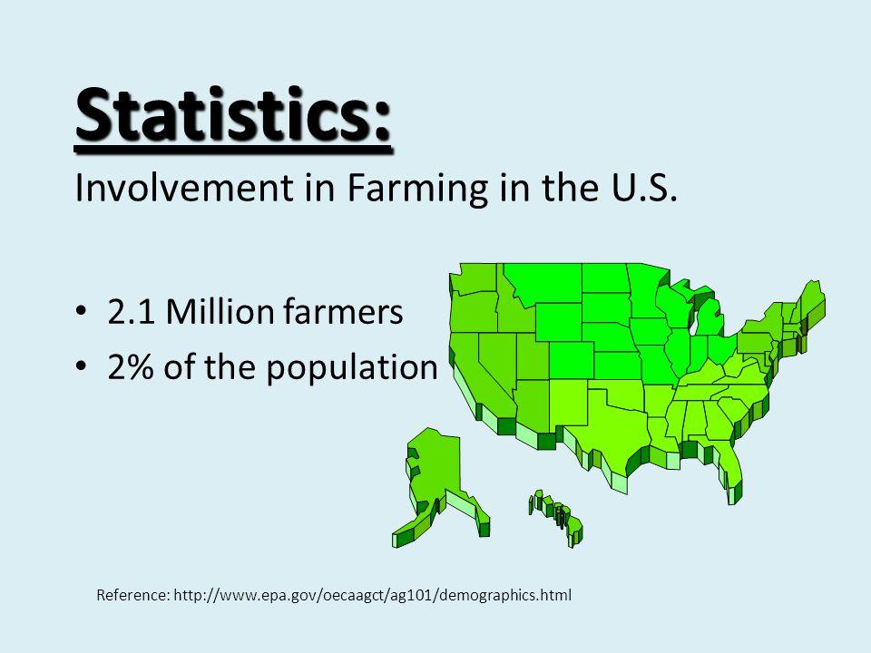 Statistics: Statistics: Involvement in Farming in the U.S. 2.1 Million farmers 2% of the population Reference: http://www.epa.gov/oecaagct/ag101/demog