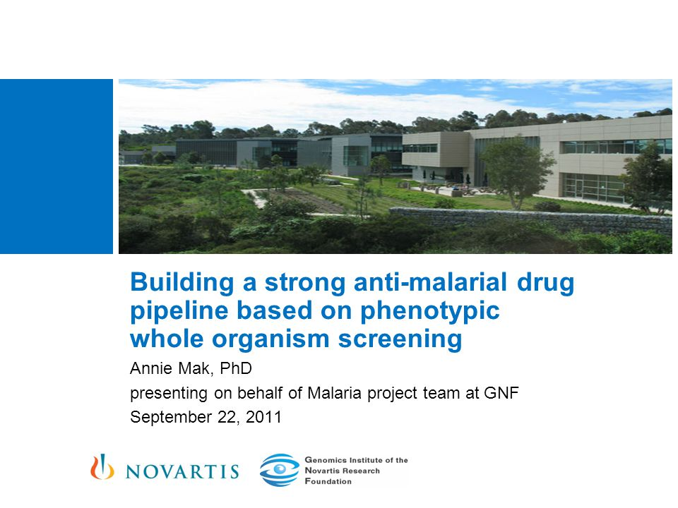 Building a strong anti-malarial drug pipeline based on phenotypic whole organism screening Annie Mak, PhD presenting on behalf of Malaria project team