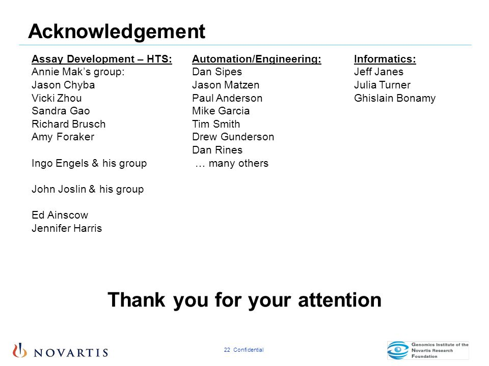 22 Confidential Thank you for your attention Acknowledgement Assay Development – HTS: Annie Mak's group: Jason Chyba Vicki Zhou Sandra Gao Richard Bru