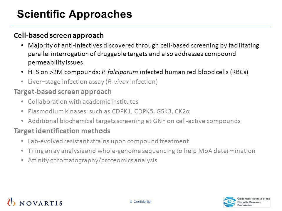 8 Confidential Scientific Approaches Cell-based screen approach Majority of anti-infectives discovered through cell-based screening by facilitating pa